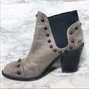 Loeffler Randall Leather Studded Round Toe Boot